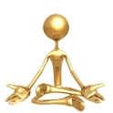 The graphic is of a gold figure sitting with legs crossed and arms opened with the palms facing up. Symbolically, the picture represents the Aquarius spiritual and humanitarian soul.
