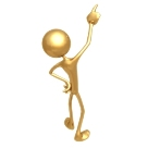 The picture depicts a gold stick man standing, pointing a finger at the sky. Symbolically, the proud stance and pointing finger represent the regal and leadership qualities of the Leo sign man