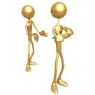 The picture is of two gold figures talking where on has his back turned and arms crossed. Symbolically, the conversation represents the Libra sign's need to create harmony in relationships.