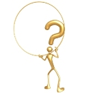 The graphic depicts a gold stick figure holding up a magnifying glass with a question mark in the middle of the glass. Symbolically, the picture represents the Scorpios investigative nature. 