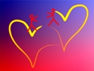 The pic is of two hearts outlined with yellow ribbon-like lines. On one heart, stands a tiny woman, and on the other, a man -- reaching for each other. The background is a red and purplish blue blend.